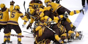 Minnesota advanced to the Frozen Four with a wild goal at the buzzer