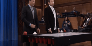 Jimmy Fallon introduces David Duchovny to beer hockey on 'Tonight Show'