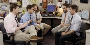 The guys from 'Workaholics' are getting new cubicle mates