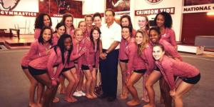 Nick Saban Posed With the Alabama Gymnastics Team, Cracked a Grin