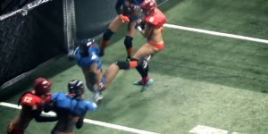 Lingerie Football Player goes BEASTMODE, destroys some poor chick
