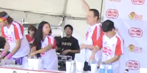 Watch Joey Chestnut crush another eating record and devour 384 gyozas