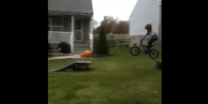 Little Kid Narrates His Bro Biking Down A Hill And Demolishing Himself, Has A Future In Broadcasting