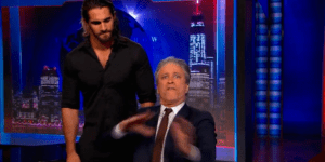 Seth Rollins Interrupted 'The Daily Show' Last Show And Things Didn't Go So Well For Jon Stewart
