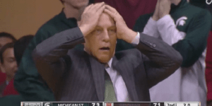 Michigan St Coach Tom Izzo Was In Complete Agony During The Final Seconds Of Mich St-Indiana Game