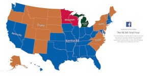 Facebook Final Four Maps Show Every State Is Obsessed With Kentucky, No One Is Rooting For Michigan State Or Wisconsin