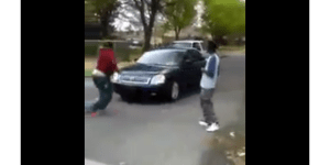 GTA IRL: Street Fight Interrupted By Drivers Bulldozing Dudes In The Street