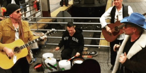 U2 And Jimmy Fallon Perform Impromptu Concert In NYC Subway