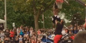 Which Is More Preposterous: 5'5″ Dude Dunking Over Man On Motorcycle Or Guy Slamming Over Mustang?