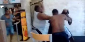 Brawl Starts Outside A Burger King, Ends Inside It With A Dude Walloping Someone Over The Head With A Pipe