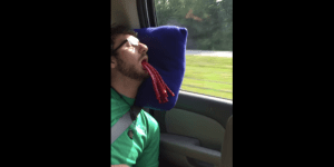 Bro Passes Out On A Road Trip And His Friends Prank Him By Stuffing Twizzlers In His Mouth