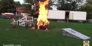Great Canadian Bros Launch Themselves Through A Roaring Bonfire On A Go-Kart