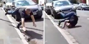 Crazed Man Chases Cyclist In Road Rage Attack, But Instant Karma Causes Him To Hilariously Faceplant