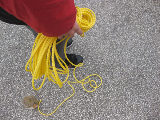 Immony holding the rope we'll use