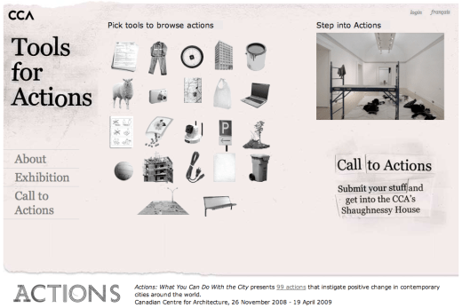 Canadian Centre for Architecture's Tools for Actions website