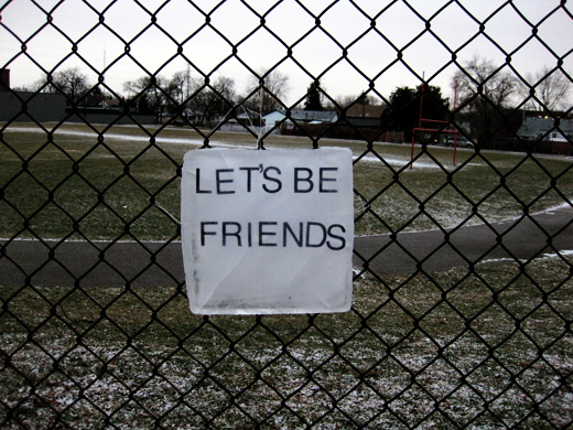 Let's Be Friends, Text On Ice installed at Forster Secondary School, Windsor, Ontario