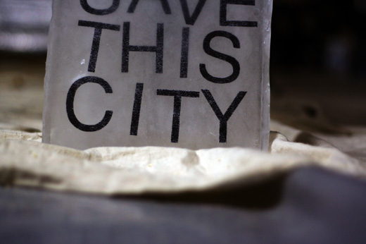 Save This City, text on ice