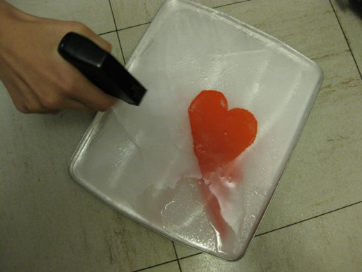 applying a spray of water to make the first layer of ice over the heart