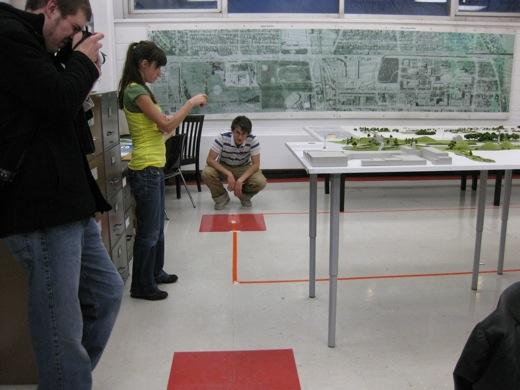 measuring out the garden plot
