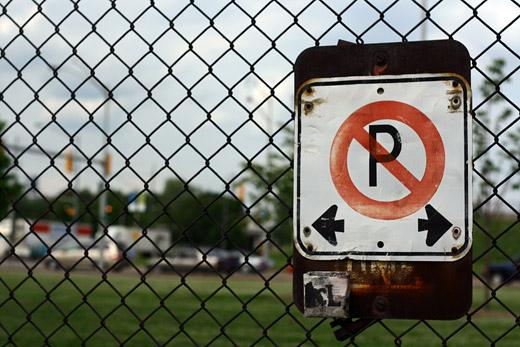 on the fence near Huron Church