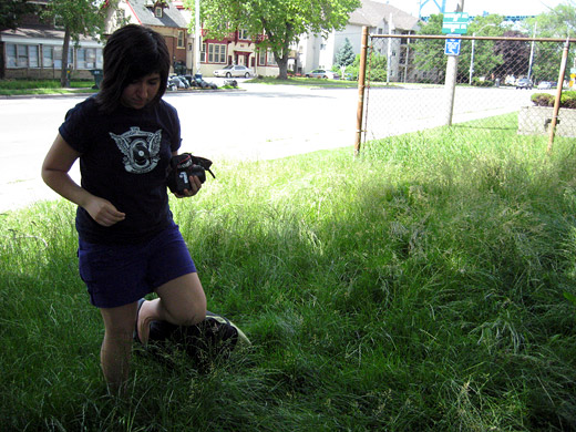 Cristina braves the grass