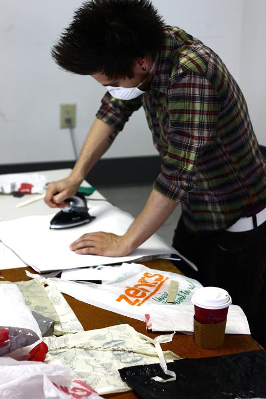 Justin ironing