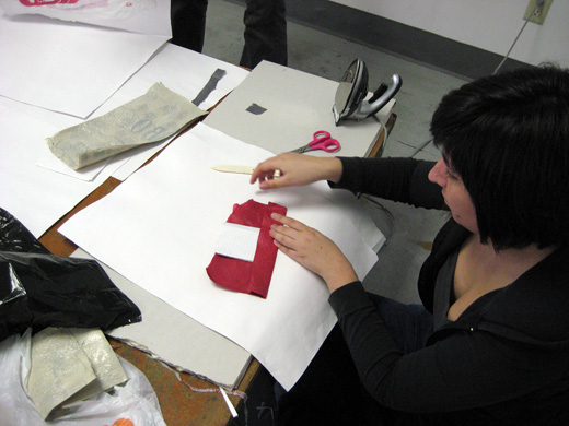 Cristina assembling a planter