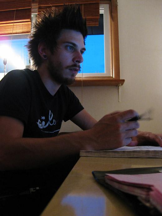 Justin writing