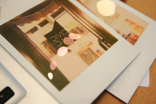 Tuesday at CIVIC SPACE with design sessions, styrofoam letters, bunting, meetings, and polaroids (15)