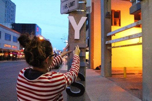 Styrofoam letters, white walls, night time guerilla art (5)