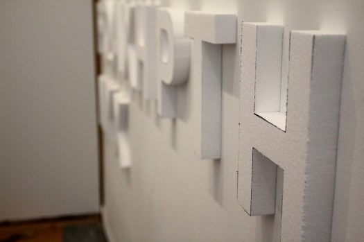 Styrofoam letters, white walls, night time guerilla art (8)