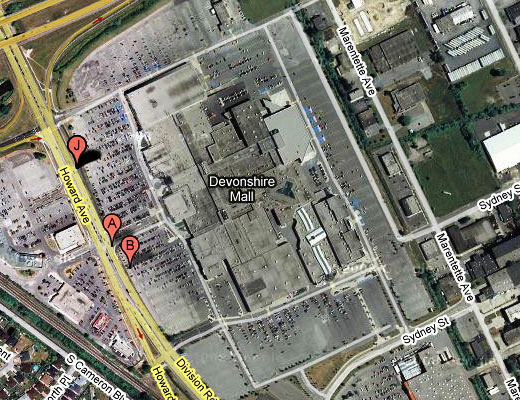Devonshire Mall, Windsor, Ontario from Google Maps