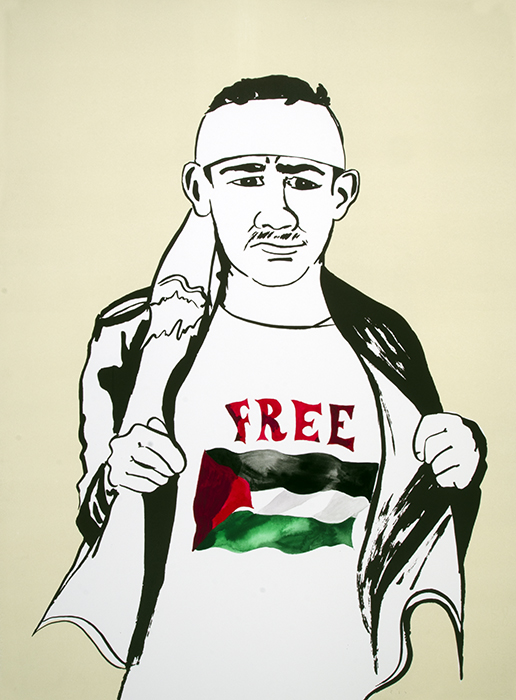 """Free Palestine,"" (2015) Monoprint and Screenprint with gouache Varied edition"