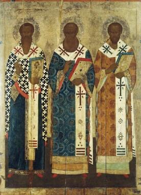 Василий Великий, Григорий Богослов и Иоанн Златоуст. Иконописец Семен Хромой