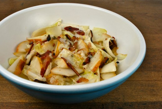 Endive, pear and bacon salad