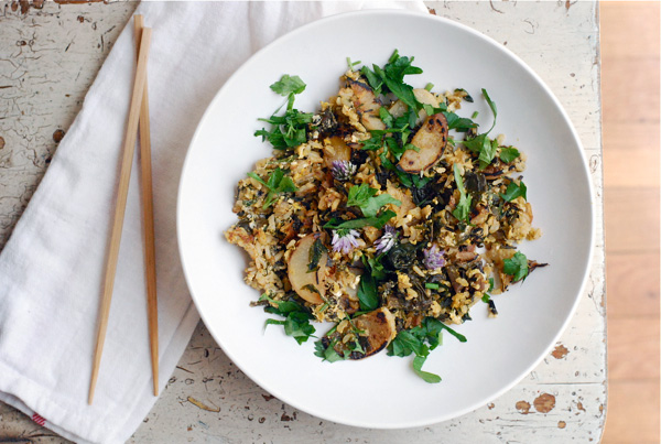 fried rice with turnips and chive blossoms // brooklyn supper