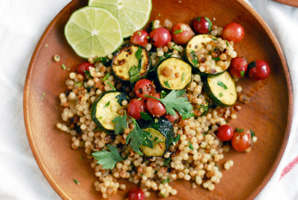 toasted israeli couscous with zucchini and grapes // brooklyn supper