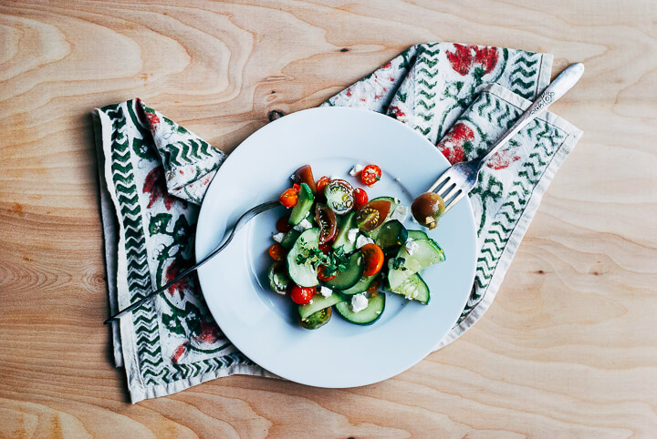 cucumber tomato salad with garden herbs // brooklyn supper