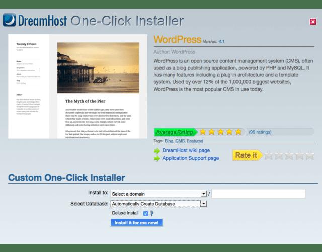 wordpress installation on dreamhost