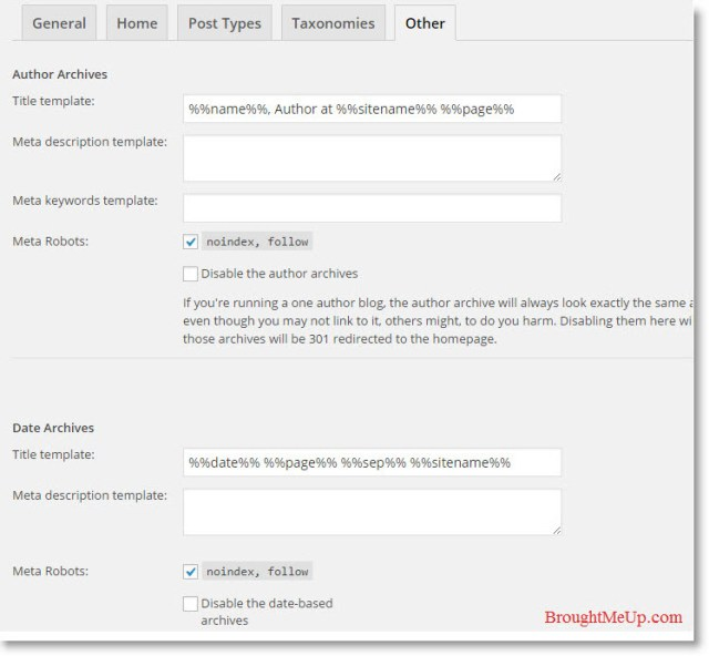 Yoast WordPress SEO Plugin Other Title and Metas Settings