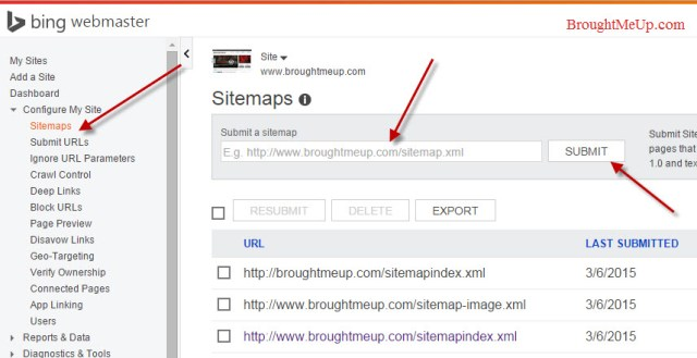 submit Sitemap to Bing webmaster tools