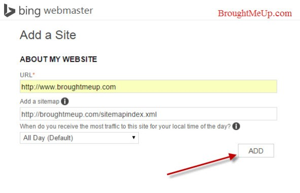 add site in bing webmaster tools