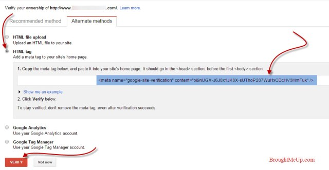 meta tag site verification method in google webmaster tools