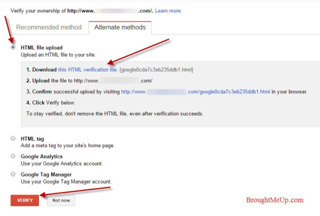 site verification by uploading HTML file method in google webmaster tools