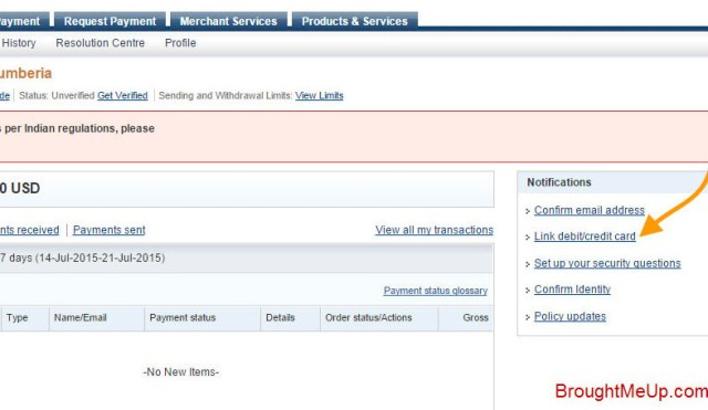 link credit card or debit card to PayPal account