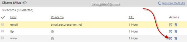 edit cname to setup custom domain in blogspot