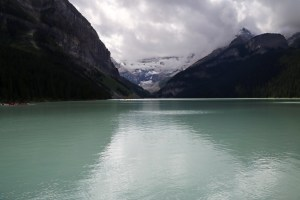 Lake Louise, with its 'green/gray' water and glacier in the background