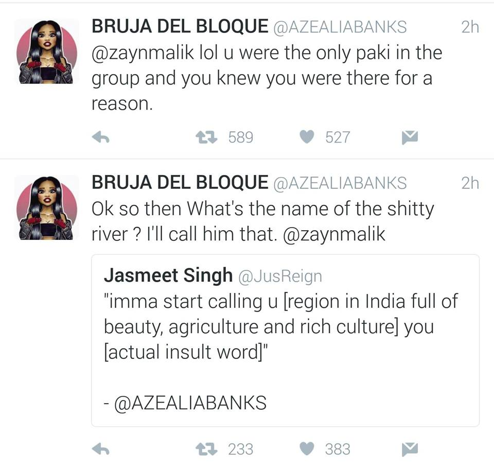 Azealia Banks Apologises For Aiming Racist And Homophobic Slurs At Zayn Malik
