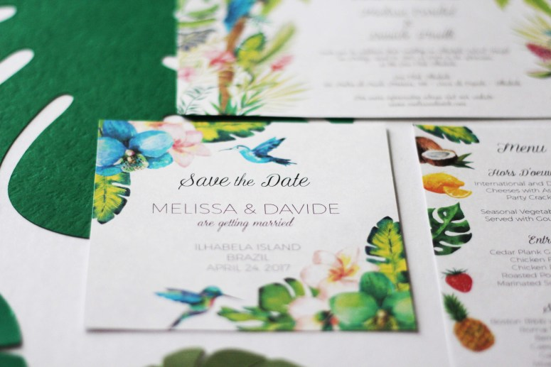 Banana Leaf Invitations, Tropical Wedding Invitations, Destination Wedding