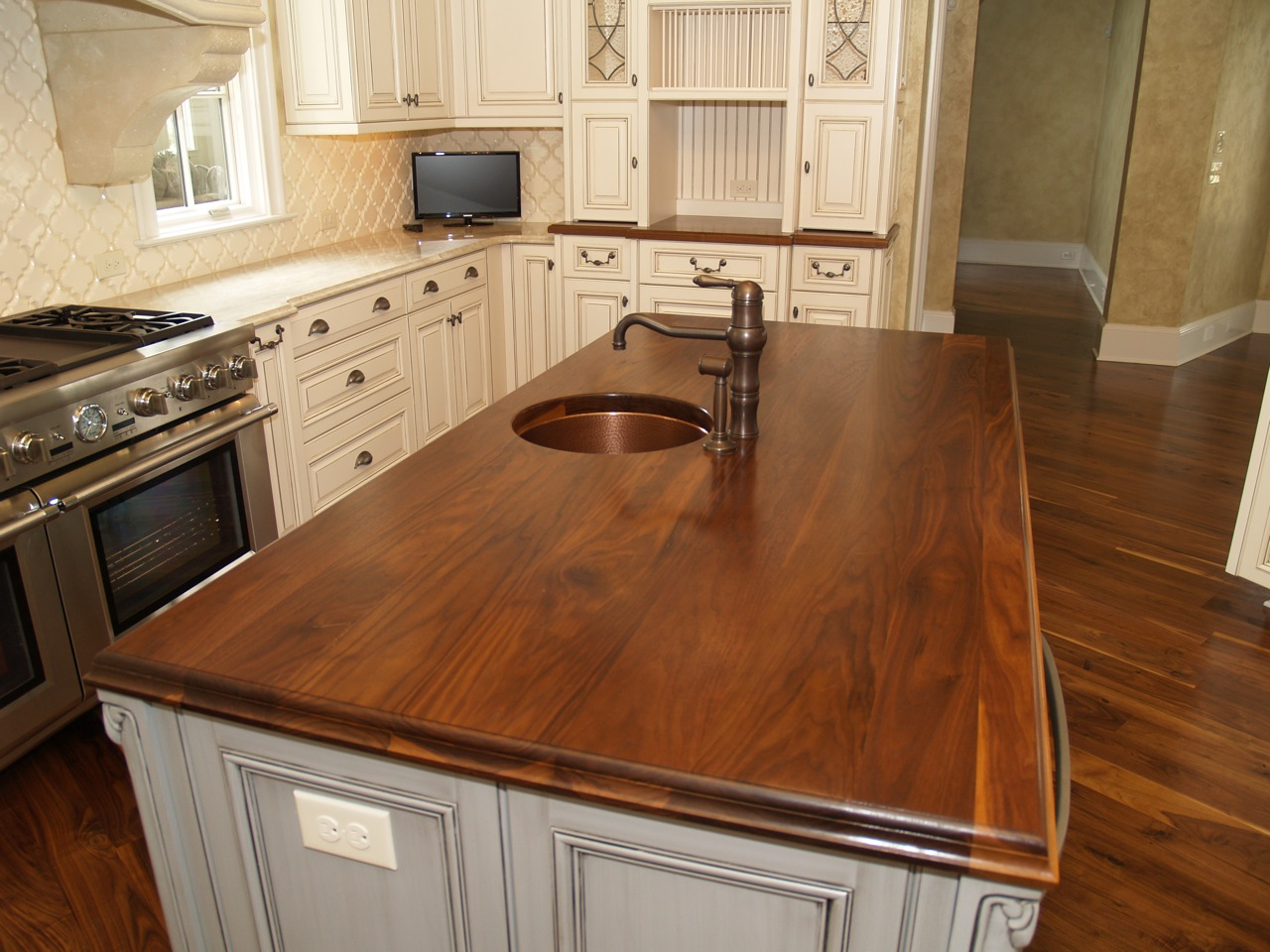 countertops wooden kitchen countertops Walnut kitchen countertop wide plank flat grain construction 1 75 thick large double roman ogee edge undermount sink with permanent finish